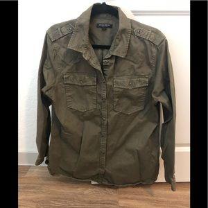 Army green button down shirt